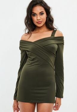 Green Cross Front Bardot Dress