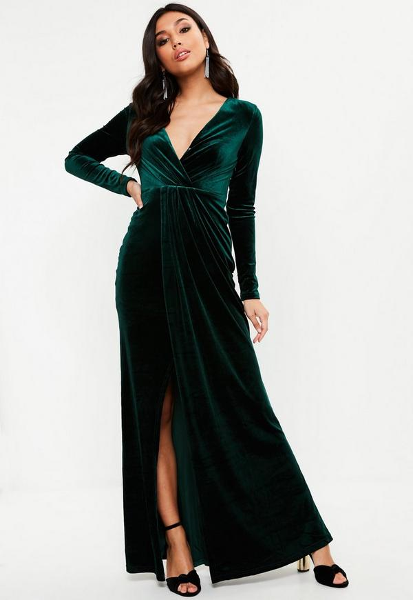 Green Velvet Plunge Long Sleeve Maxi Dress | Missguided