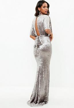 Szara welurowa sukienka maxi