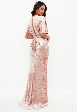 Pink Velvet Plunge Flared Sleeve Maxi Dress