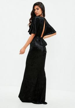 Black Velvet Plunge Flared Sleeve Maxi Dress