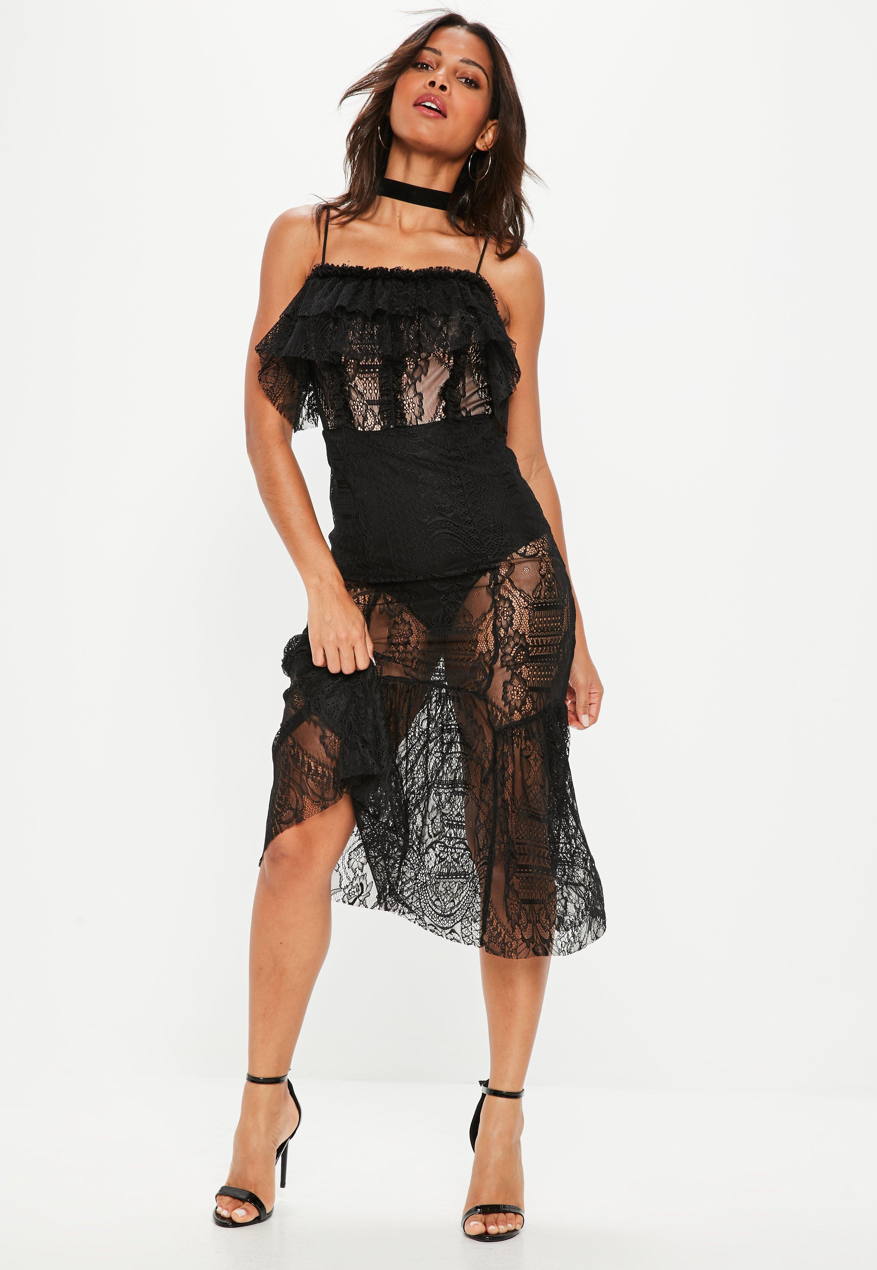 Black lace overlay puffy dress