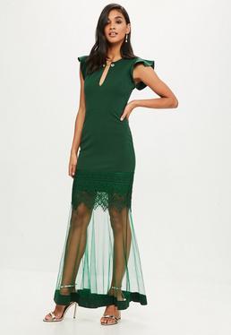 Green Lace Hem Maxi Dress