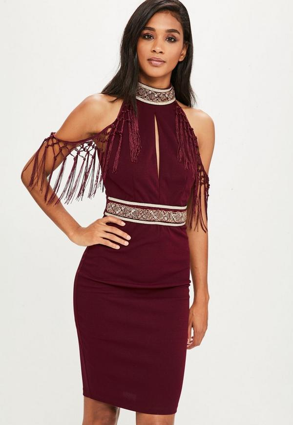 90b6b139e2e5 ... Burgundy Tassel Embroidered Halterneck Dress. Previous Next