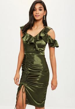 Green Ruched Satin Frill Bodycon Dress