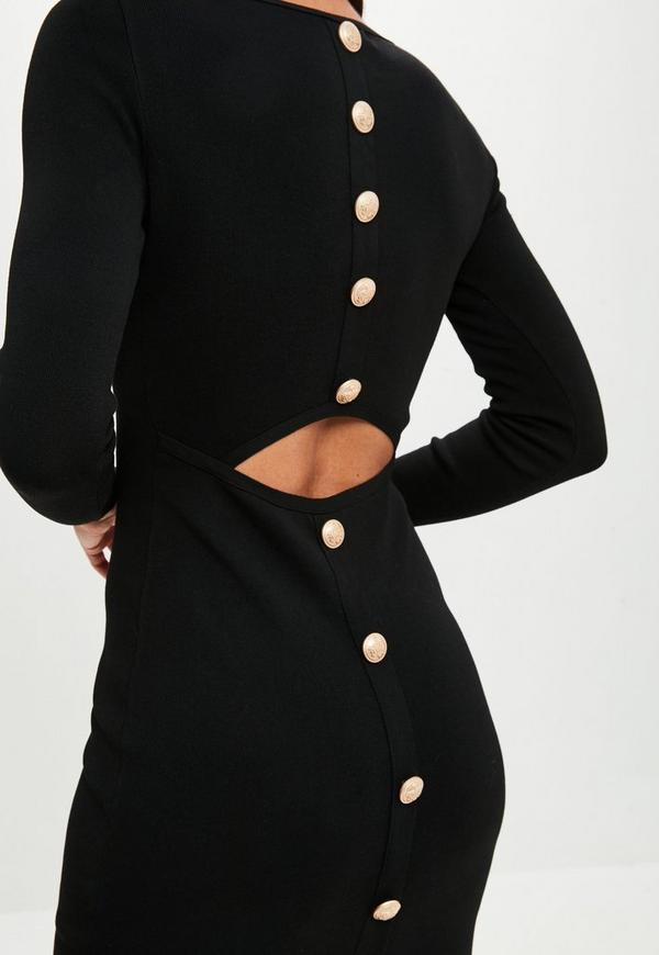 robe moulante noire boutons dans le dos missguided. Black Bedroom Furniture Sets. Home Design Ideas