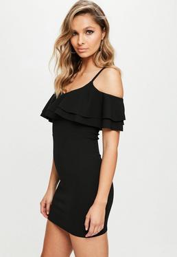 Black Ruffle Cold Shoulder Bodycon Dress