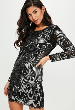 Black Silver Sequin Bead Trim Bodycon Dress