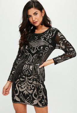 Black Bronze Sequin Bead Trim Bodycon Dress