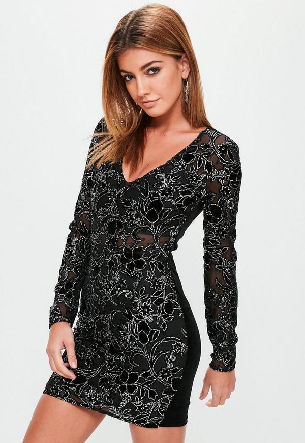 4132cd20 Black Sequin Sheer Panel Dress | Missguided Australia