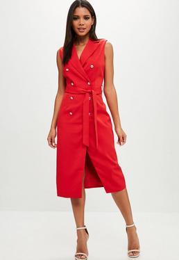 Red Belted Blazer Dress