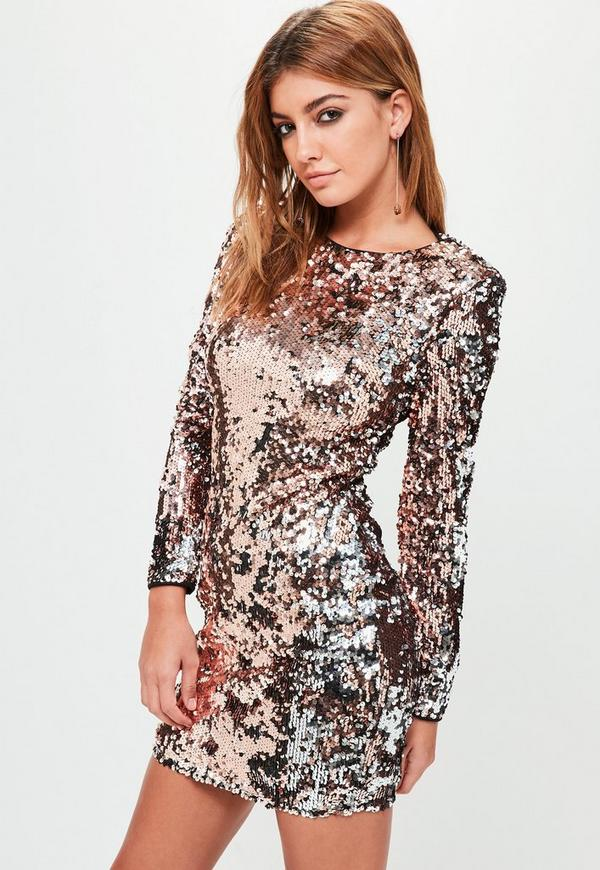b06c8dee5de2 Rose Gold Two Tone Sequin Bodycon Mini Dress