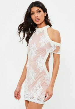 White Trimmed Cut Out Dress