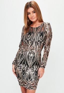 Black Sequin Long Sleeve Bodycon Dress