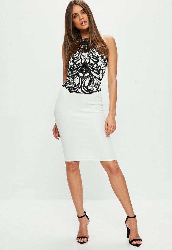 White Crochet Dress | Missguided