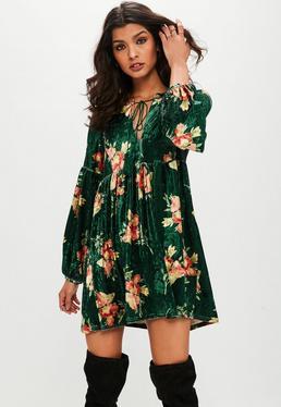 Green Floral Velvet Smock Dress