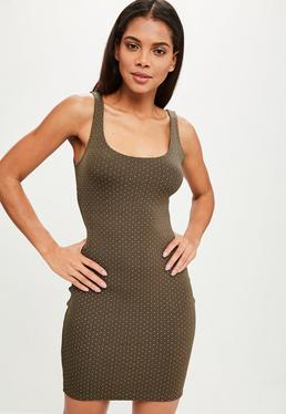 Khaki Studded Bodycon Dress