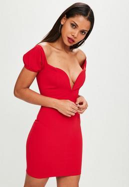 Red Puff Sleeve Plunge Mini Dress