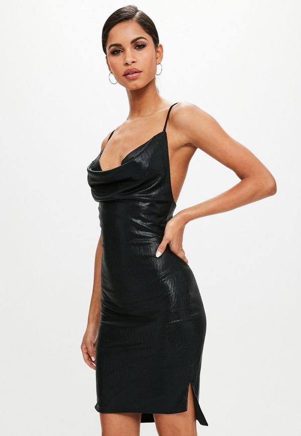 28090457 Black High Shine Cowl Neck Mini Dress   Missguided Australia