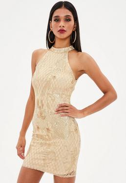 Nude Baroque Lace Overlay Dress