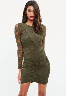 Khaki Ruched Lace Bodycon Dress