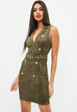Khaki Suedette Belt Detail Blazer Dress