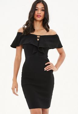 Black Frill Front Bodycon Dress