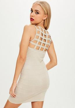 Nude Cage Back Metallic Ribbed Bodycon Dress