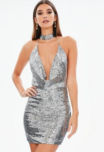 Silver Plunge Sequin Dress Missguided