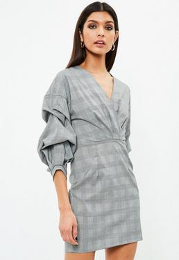 Grey Gathered Sleeve Checked Dress