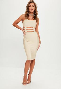 Nude Cut Out Detail Bandage Midi Dress