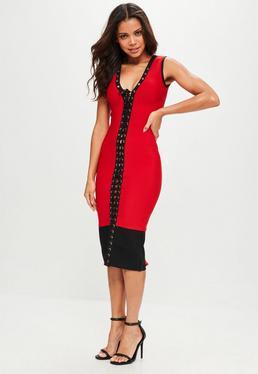 Czerwona sukienka midi z wiązaniem z przodu