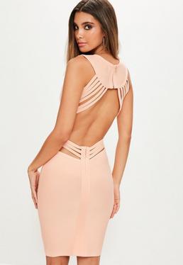 Nude Open Strappy Back Bandage Dress