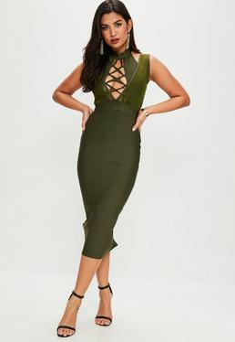Khaki Double Layer Mesh Lace Up Bandage Dress