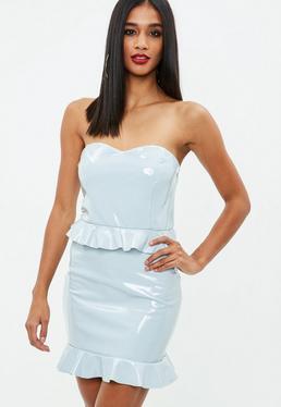 Grey Vinyl Peplum Dress