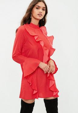 Red Polka Dot Ruffle Mini Dress