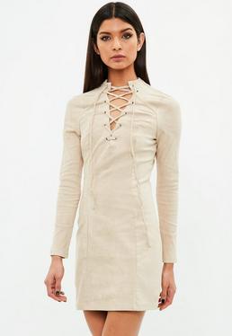 Beige Suedette Dress Tie Front Long Sleeve
