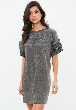 Silver Lurex Frill Shoulder Dress