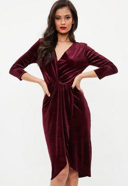 Burgundy Knot Wrap Velvet Dress
