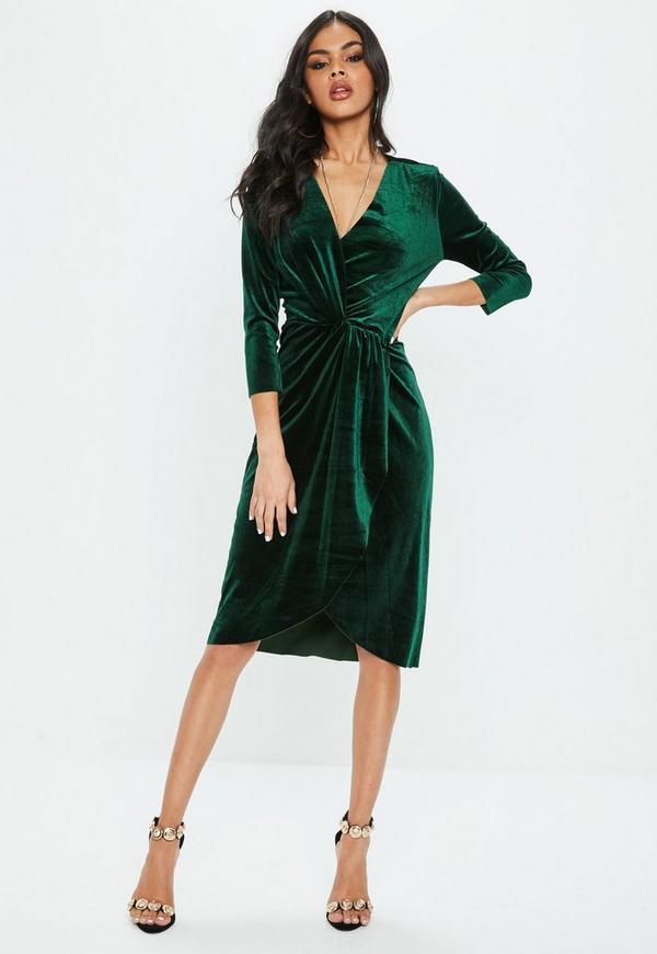 Green Knot Front Velvet Wrap Dress | Missguided