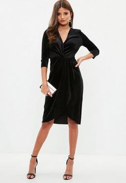 Black Knot Wrap Velvet Dress