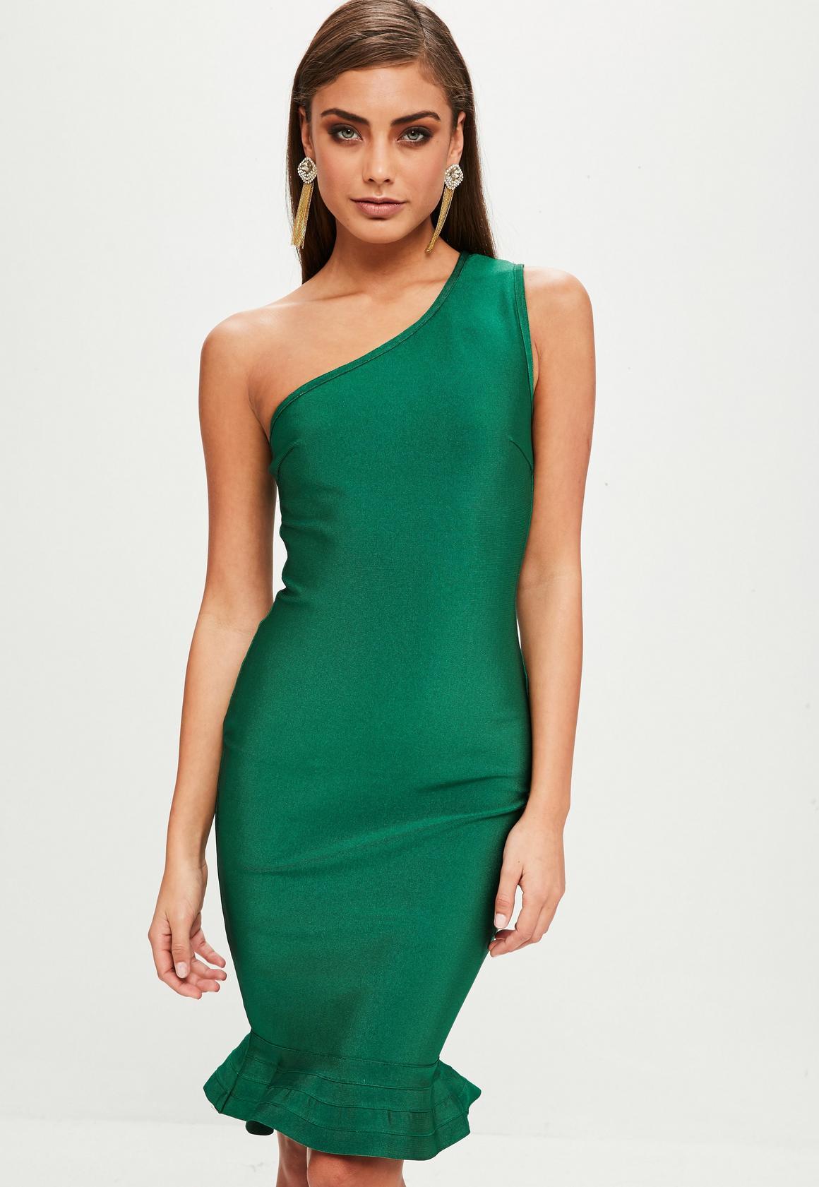 One Shoulder Green Cocktail Dress