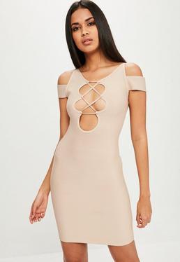 Nude Cold Shoulder Bandage Dress
