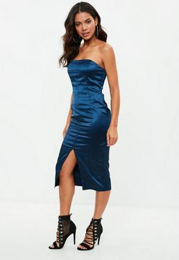 Navy Satin Bandeau Dress