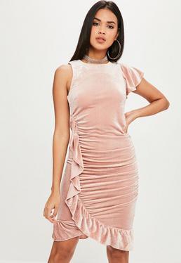 Nude Velvet Dress