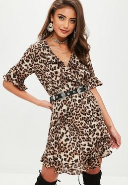 Brown Leopard Frill Wrap Dress