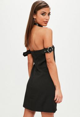Black Bardot Buckle Mini Dress