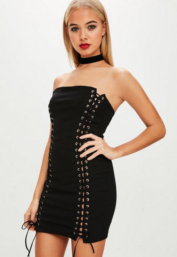 6635b673477 ... Black Lace Up Bandeau Dress. Previous Next
