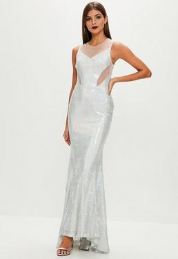 Srebrna cekinowa sukienka maxi