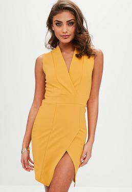 Yellow Wrap Over Sleeveless Dress